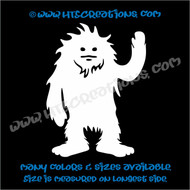 Sasquatch Big Foot Yetti Waving Truck Bumper Laptop Wall Vinyl Decal WHITE