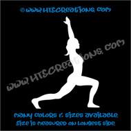 Yoga Warrior Pose Stretch  Spirtiual Fitness OM OHM Namaste Spiritual Vinyl DecalTruck Bumper Laptop Wall Vinyl Decal WHITE