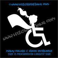 Wheelchair Handicap Super Hero Girl Special Needs Vinyl Decal Truck Laptop Tablet Vinyl Decal WHITE