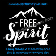 Free Spirit Mountain Camping Hiking Adventure Vinyl Decal Laptop Car WHITE