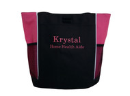 Custom Monogrammed Personalized Embroidered Zippered HOT PINK Tote Bag Font Style BODINI