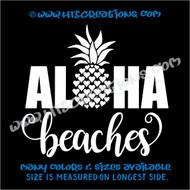 Aloha Beaches Pineapple Hawaii Hawaiian Heart Vinyl Decal Laptop Car Door Mirror Truck