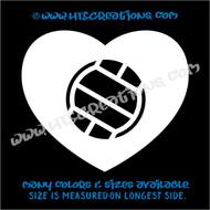 Volleyball Heart Love Sports Vinyl Decal Laptop Car Door Mirror Truck Vanity Boat WHITE