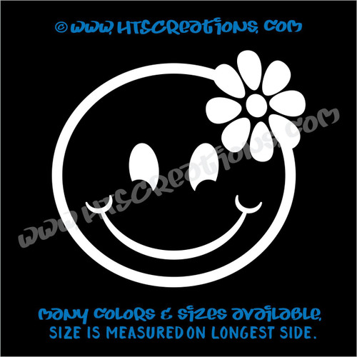 Smiley Face Hibiscus Hawaii Hawaiian Vinyl Decal Laptop Vanity Cell Phone Car Door Mirror Truck WHITE