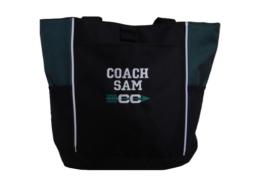Cross Country XC Track Arrow Personalized Embroidered HUNTER GREEN Zippered Tote Bag Font Style VARSITY