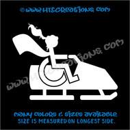 Wheelchair Snowmobile Handicap Super Hero Girl Paraplegic Vinyl Decal Truck Laptop Tablet Vinyl Decal WHITE