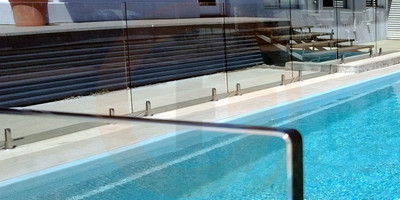 Frameless Glass Pool Fence Panel - 1250mm wide x 1200mm high