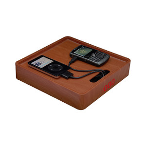 Magnadyne MC-PRO-OAK | Simulated Oak Finish Multi-Charger Station with Digital Clock - 3/4 View