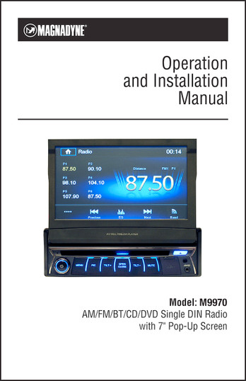 Magnadyne M9970 | Operation & Installation Manual