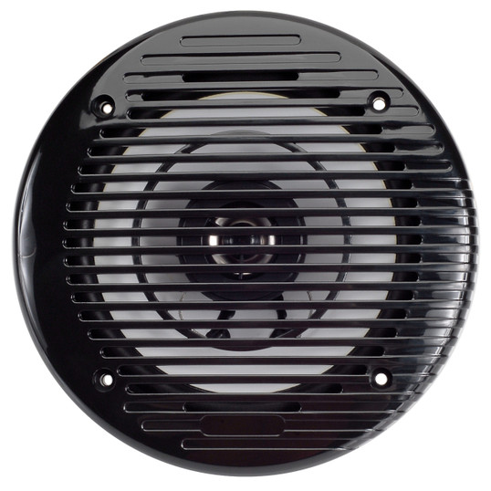 "AquaVibe WR85B Marine Waterproof 6 1/2"" 2-Way Black Speaker - Front View"