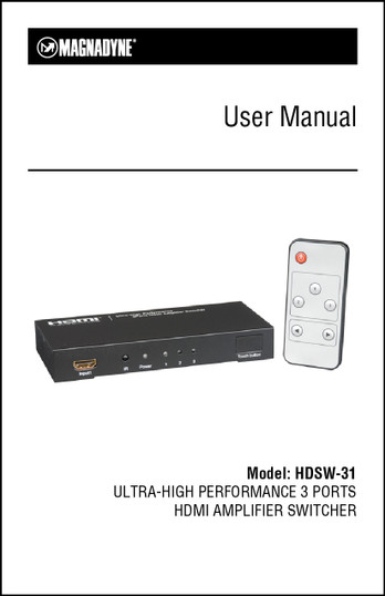 Magnadyne HDSW-31 | User Manual