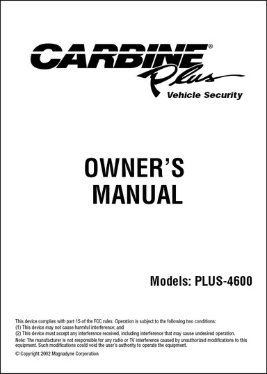 Carbine Plus-4600 | Owners Manual