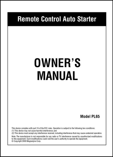 Carbine PL65 | Owner's Manual