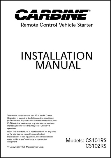 Carbine CS101RS/CS102RS | Installation Manual