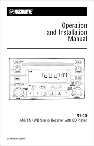 Magnadyne M1-CD | Operation and Installation Manual