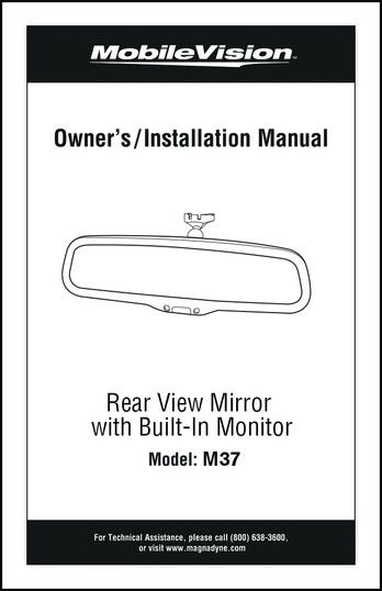 MobileVision M37| Installation/User's Manual