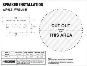 "Aquavibe WR6LS-B | 6 1/2"" 2-Way Waterproof Speaker - Installation Template"