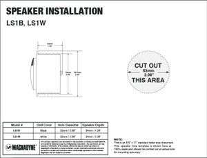 "Aquavibe LS1B | Marine Waterproof 1"" Tweeter - Installation Template"