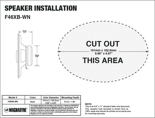 "Magnadyne F46XB-WN | 6"" 2-Way Speaker - Installation Template"