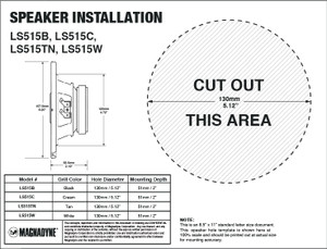 "Magnadyne LS515W | 5-1/4"" 3-Way Speaker (White) - Installation Template"