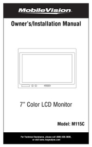 """Mobilevision M115C - 7"""" Color LCD Safety Camera Monitor - Installation Manual"""