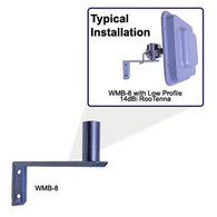 """WMB Wall Mount Bracket - For mounting a pole mount antenna to a wall. 8""""standoff from wall, 1.25"""" diameter mounting tube.   Antenna Wall Mount Bracket The WMB Universal Wall Mounting Brackets are constructed of zinc plated steel for long service life. The mount seams are welded for durability. The mount WMB-8 provides 8"""" of standoff from the wall and supports over 35LBs. The mount is attached to the wall with two screws and can be mounted very quickly. The industry standard 1.25"""" mount diameter allows mounting of most pole type mount antennas. Typically the pole mount type antenna has a bracket which accommodates full tilt and azimuth adjustment."""