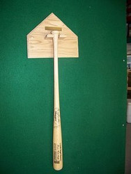 BASEBALL BAT RACKS, Home Plate Bat Holder with Brass Plate  BB 211