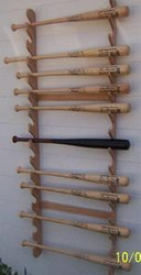 BASEBALL BAT RACKS, Fifteen Bat Wall Mount  CC 215 W, Village Wood Shoppe