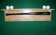 BASEBALL BATA AND BALL DISPLAY, Bat display  with shelf, 4 ball holders and 5 shaker pegs  JJ 405
