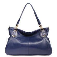 Women's Leather Tote Shoulder Bag Blue