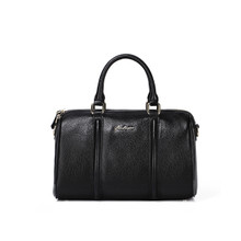 Boston Bag,  Women's Genuine Leather Top Handles Handbag, Black