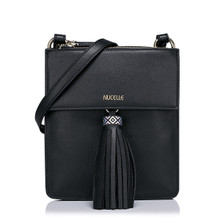 Leather Shoulder Bag with Double Compartment Black
