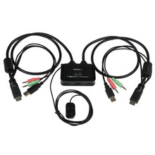 StarTech.com 2 Port USB HDMI Cable KVM Switch with Audio and Remote Switch