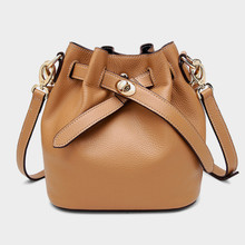 Bucket Bag Women's Genuine Leather Shoulder Bag Cross Body Bag Caramel