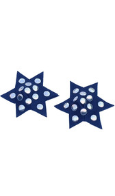 Leather star shaped pasties with nail head studs. Back of pasties is cloth-lined. Studs are also on back side.