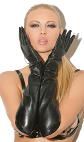 Long leather elbow length gloves.