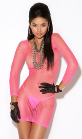 Long sleeve diamond net mini dress.