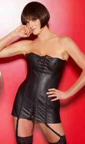 Strapless leather corset dress features a lace up back, boning, and front lace up detailing. Garters are adjustable and detachable.