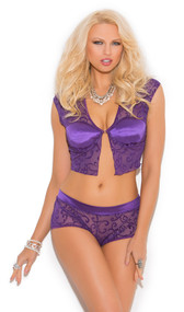Mesh burnout cami top with front hook closure, lightly padded satin underwire cups. Swirls are velvet texture. Matching shorts with satin waist band.
