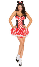 Miss Mouse costume includes mini dress, mouse ear head piece, and leg garter. Three piece set.