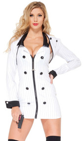 Mobster Minx gangster costume includes zip front pinstripe halter dress with button detail, matching bolero jacket, and toy gun.
