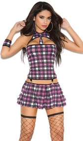 Naughty School Girl costume includes bandeau top, collar with attached tie, wrist band, and pleated mini skirt. Main pieces are connected by suspender clips.