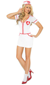 Heart Throb Hottie costume includes zip front mini dress and head piece. Two piece set.