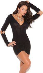 Deep V neck mini dress with gartered long sleeves.