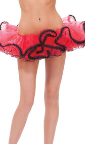 "High volume tutu style petticoat with ruffle trim. Petticoat has an elastic waist and five mesh layers with black trim on each. Top layer features a lace ruffle trim and measures 8-1/2"" long. The second layer measures 7"" and the bottom three layers measure 6"" each. Great for adding volume to costumes with dresses or skirts!"