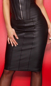 The Executive Leather Pencil Skirt has back zipper openings at the waist and the knee. The buttery soft leather is shaped to create dangerous curves and the knee length creates the look of super long legs.