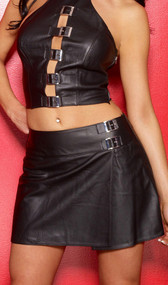 Leather school girl style mini skirt. Features a back zipper opening and buckle detailing on the hip.