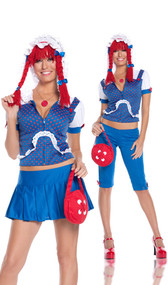 Rag Doll costume includes hoodie, capris, skirt, necklace and button purse. Can be worn two different ways.