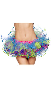 Rainbow mesh petticoat with sequin trim, satin elastic waistband.
