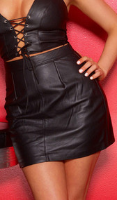Leather mini skirt features a high waist and the darts make it fit like a second skin, accentuating your curves. Back zipper opening.